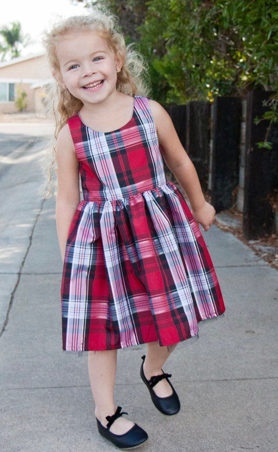 b28d1e7a5dd88 Toddler Girl Christmas Dress, Silver and Red Plaid Dress, Classic Girl Dress,  Holiday Dress, Shimmer