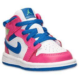 Girls' Toddler Jordan Air Jordan 1 Mid Basketball Shoes   Finish Line    White/