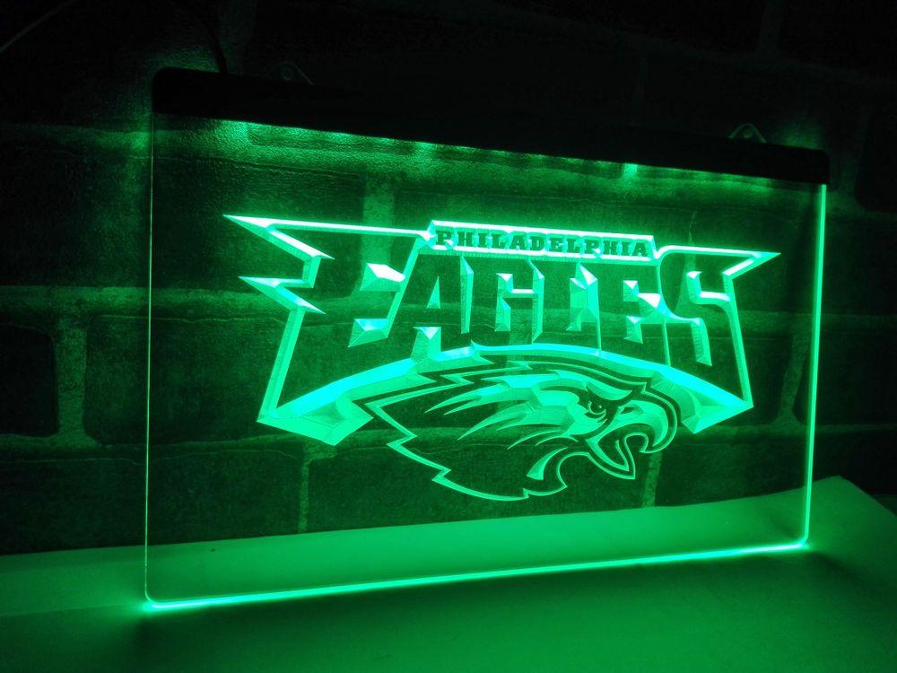 Philadelphia Eagles Man Cave Accessories : Philadelphia eagles football led neon light sign home decor crafts