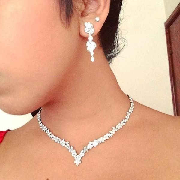 95393fae1763d Diapason V Set, White, Rhodium plating | WEDDING | Jewelry ...