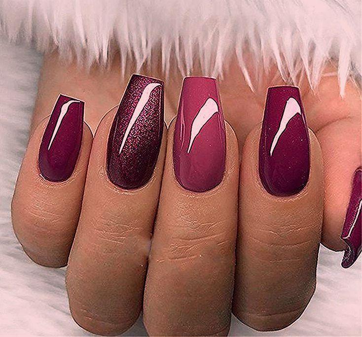 30+ Elegant Purple Glitter Coffin Nails Inspiraties + tips - Hazir-WP