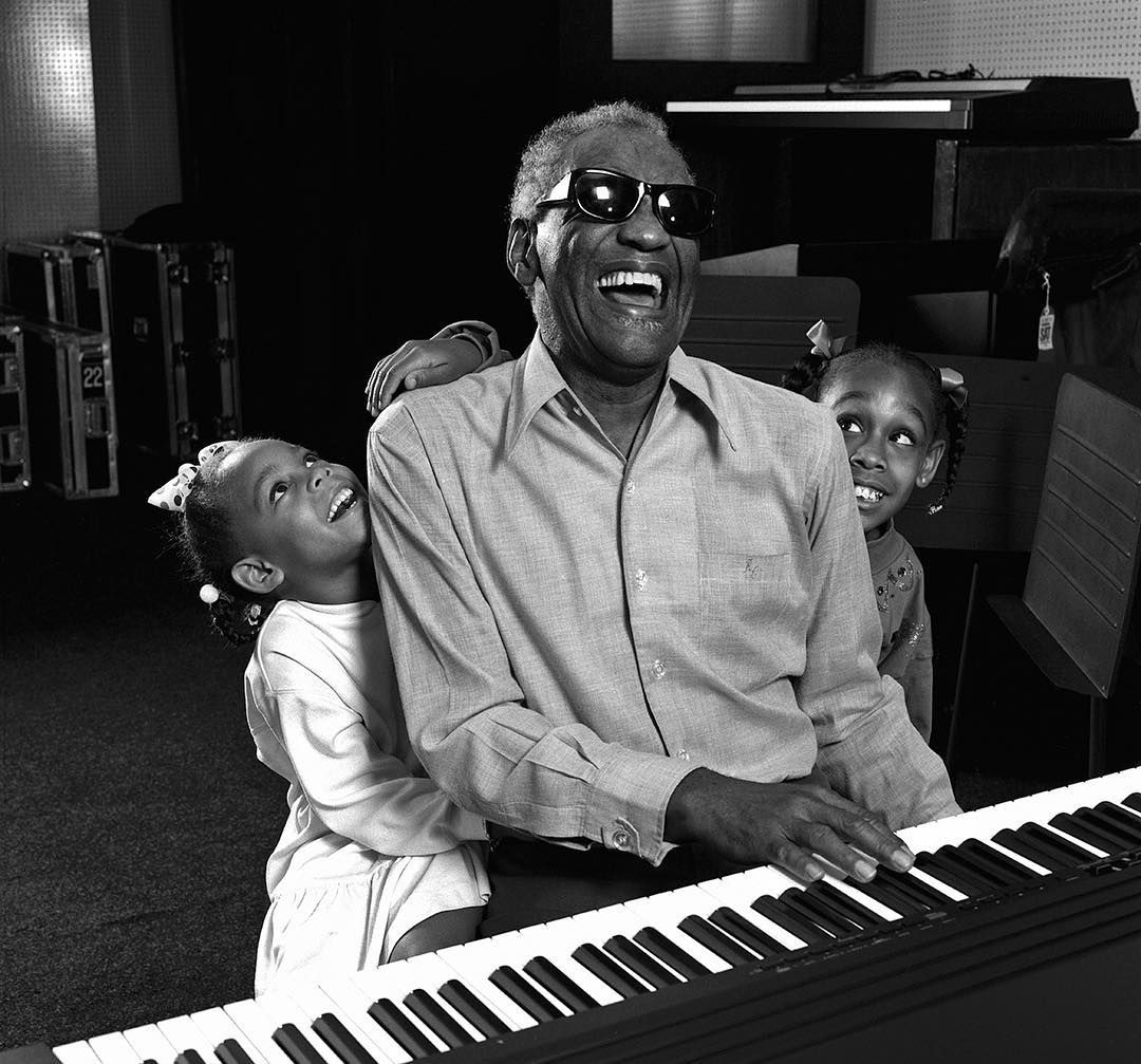 1990 Ray Charles With His Granddaughters Photo By Harry Benson