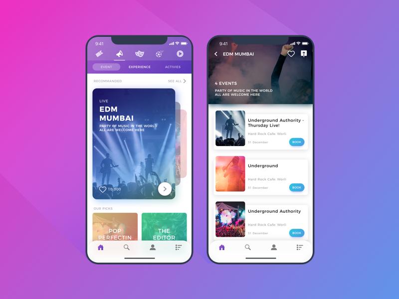 Event Booking Ios app design, Android design, App design