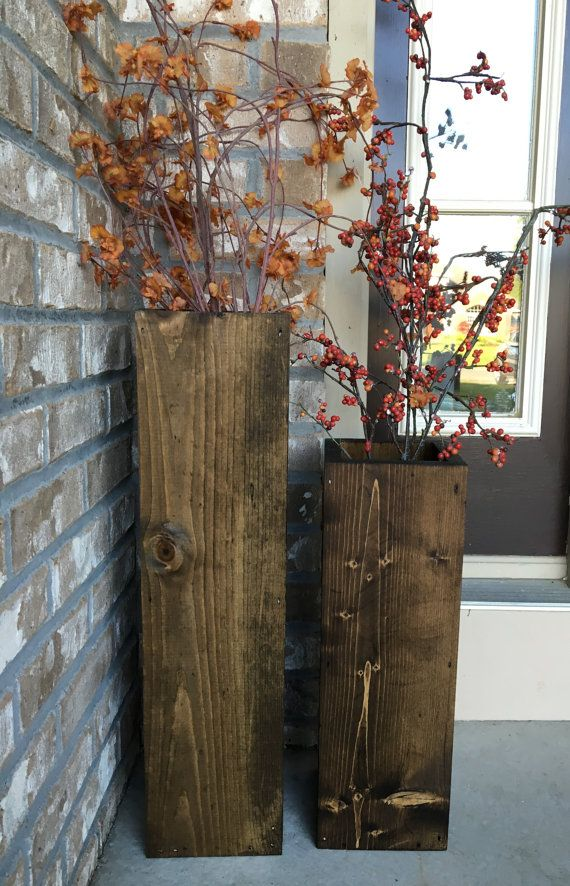 Wooden Vases Reclaimed Wood Rustic Floor Vases Set Of Two Etsy