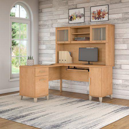 Bush Furniture Somerset 60w L Shaped Desk With Hutch In Maple Cross Beige Products Desk Desk Hutch L Shaped Desk