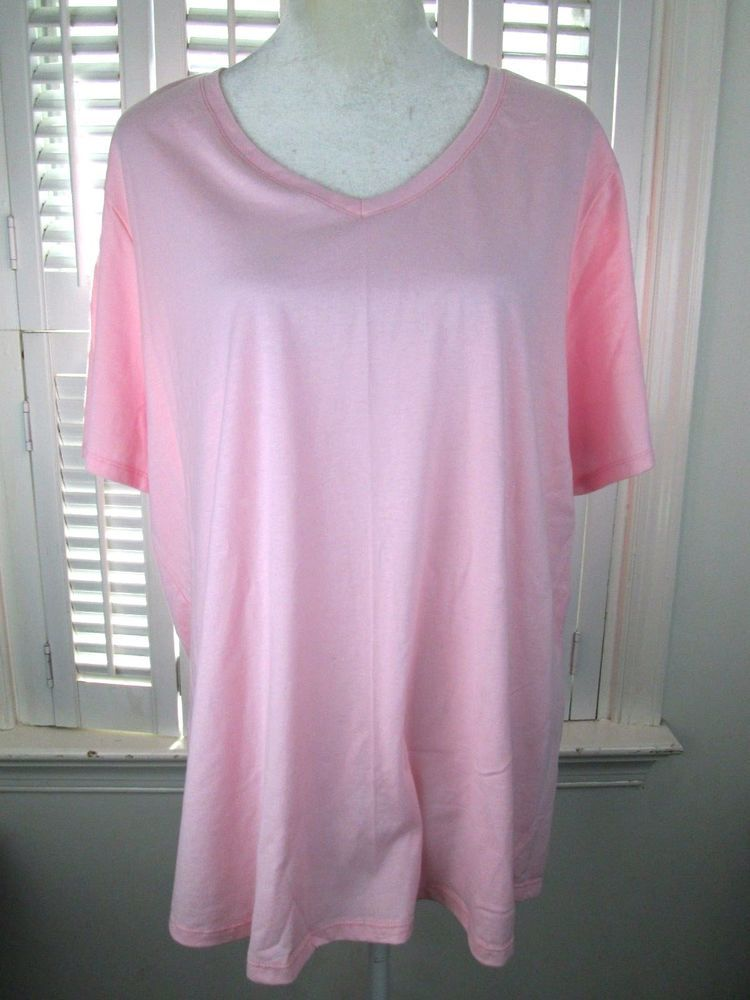 515a097a25b JMS JUST MY SIZE WOMEN PLUS SIZE 3X PINK BASIC TEE T SHIRT TOP V NECK   JustMySize  BASICTEETSHIRTTOP  Casual