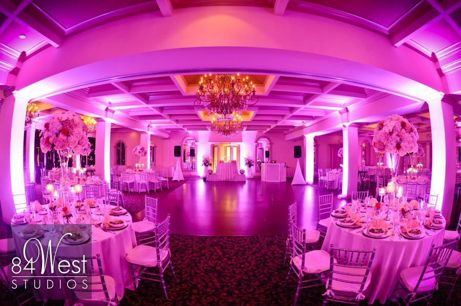 Hillcrestgcc All Decked Out In Gorgeous Pink And Purple Led Uplights For A Wedding Hollywood Florida Reception Venue