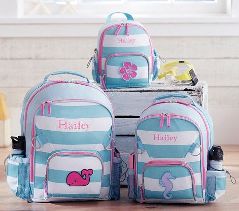 Fairfax Aqua Stripe Backpacks   Pottery Barn Kids!! The small backpack with  the whale and her name For Bailey! a1aa8395eb