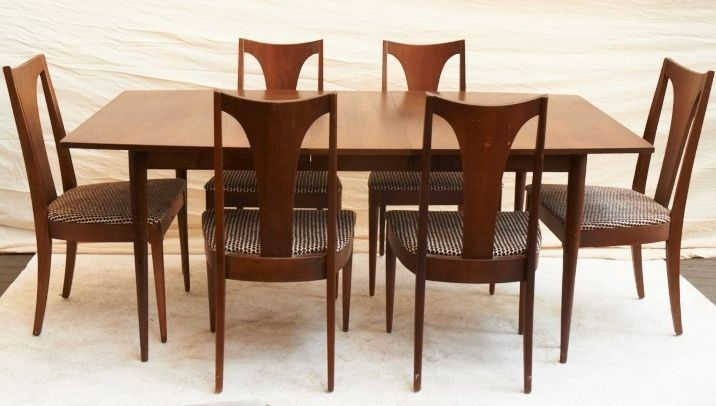 Vintage Broyhill Saga Walnut Dining Table Six Chairs Mid Century