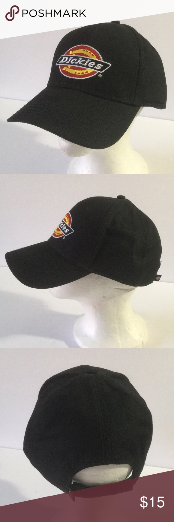 NWOT Dickies Work Cap Hat Black Does not have the tag but the cardboard is  still inside. Brand new. Never worn. Black hat with Velcro back closure. 5b8f69aa8f4
