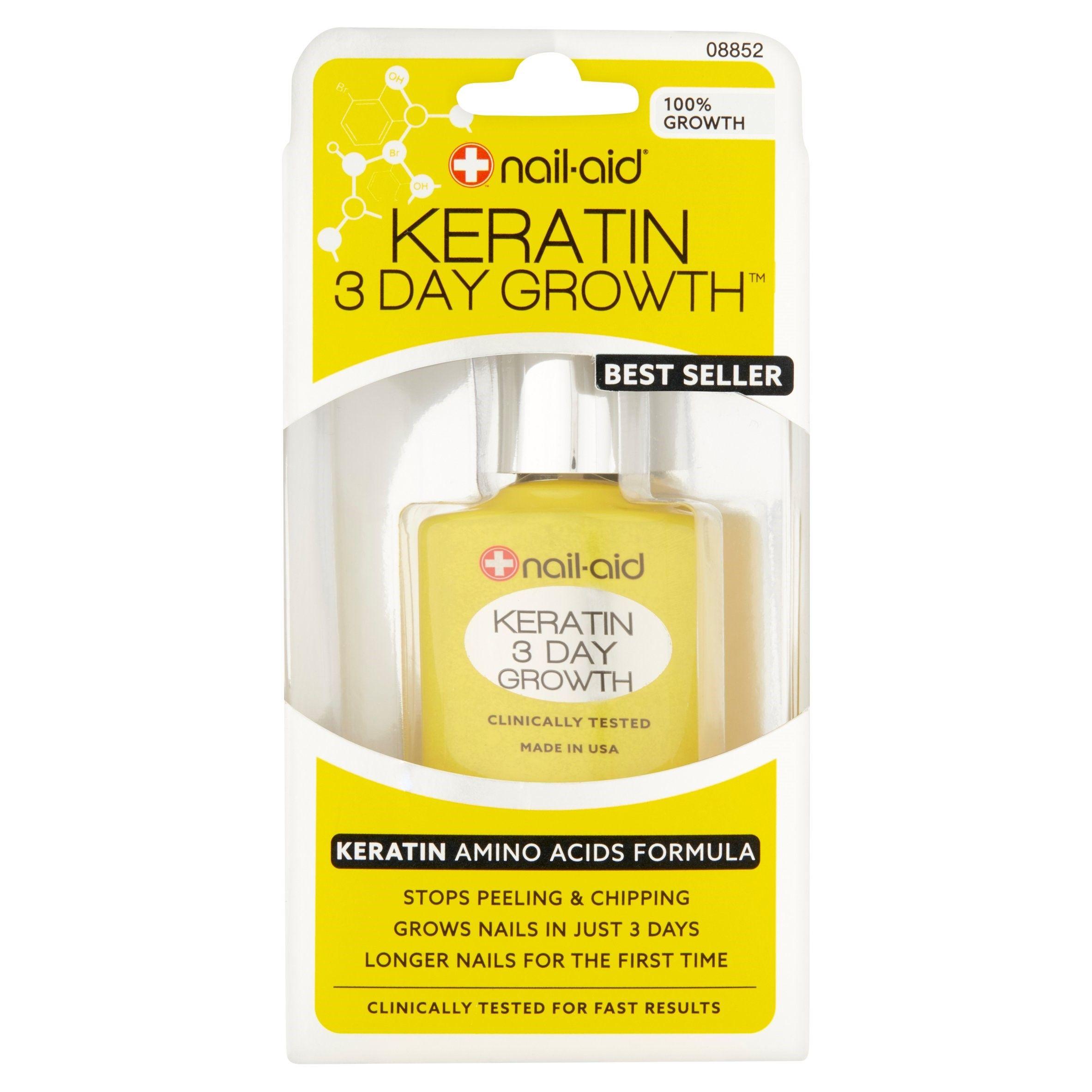 Free 2 Day Shipping Buy Nail Aid 3 Day Growth Keratin Amino Acids Formula 0 55 Fl Oz At Walmart Com How To Grow Nails Keratin Diy Hair Loss Treatment