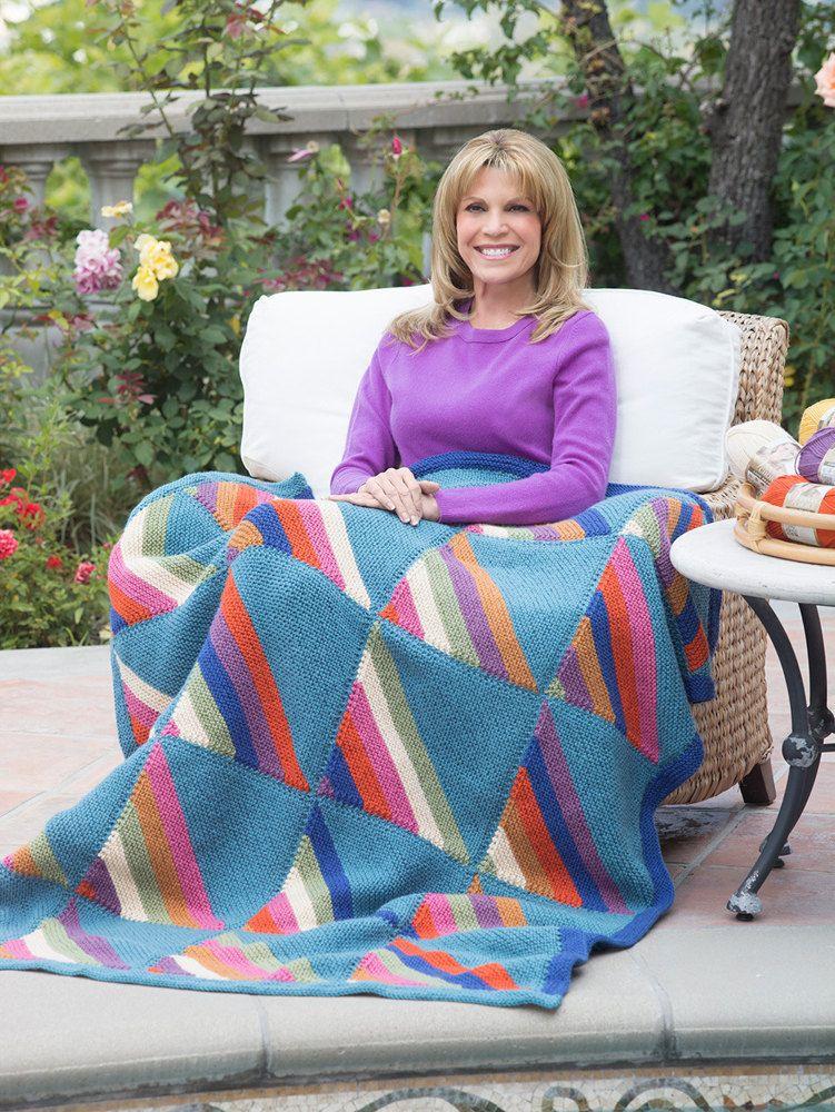 Diagonal Squares Afghan in Lion Brand Vanna's Choice   Knitting Patterns   LoveKnitting