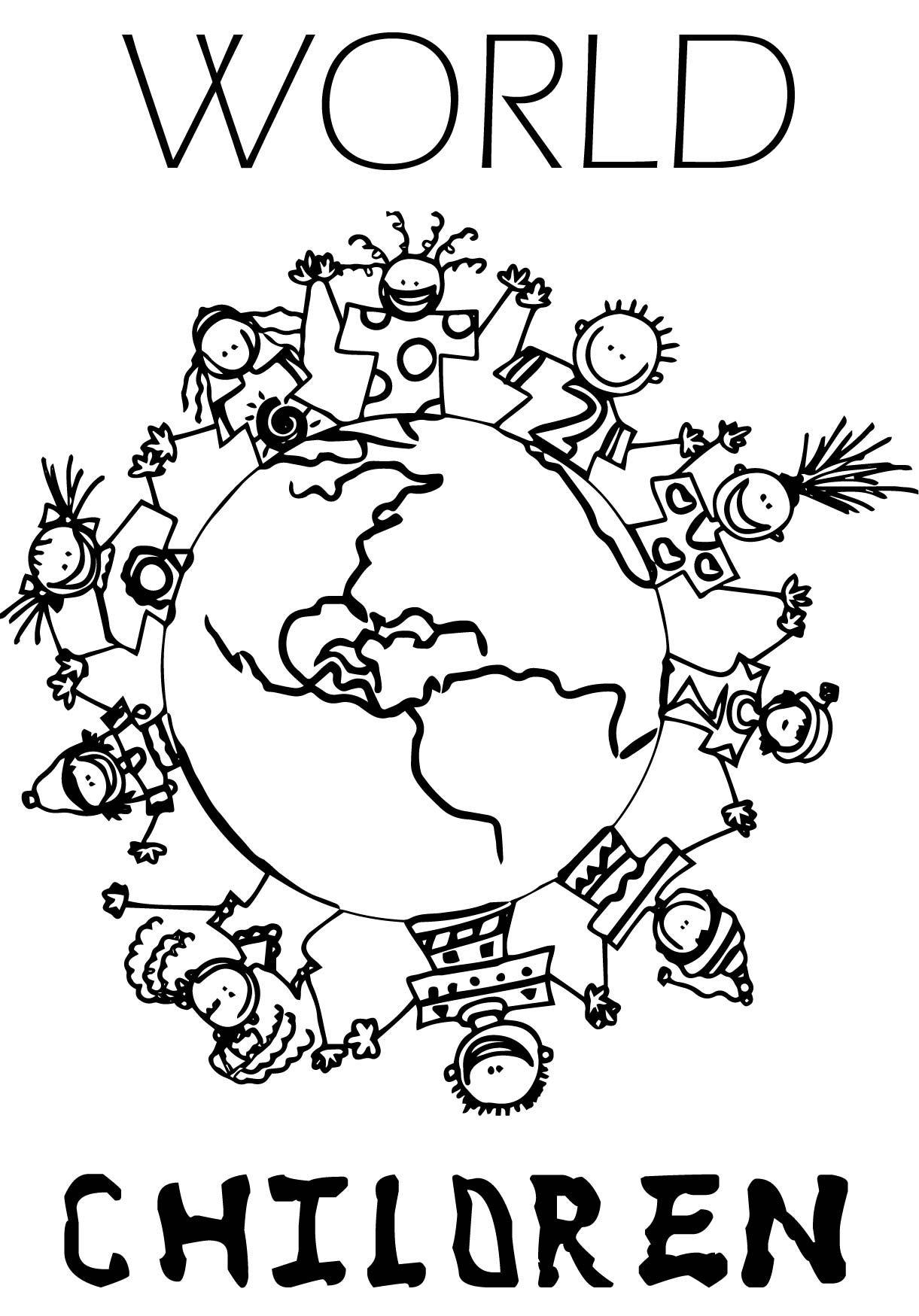 Children Holding Hands Around World Coloring Page Cute Children