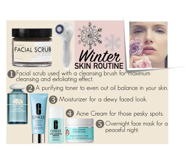 """""""Skin routine"""" by phangurl3 ❤ liked on Polyvore featuring beauty, Clarisonic, Fig+Yarrow, Origins, Clinique, First Aid Beauty, Post-It, Kim Rogers, Winter and skin"""