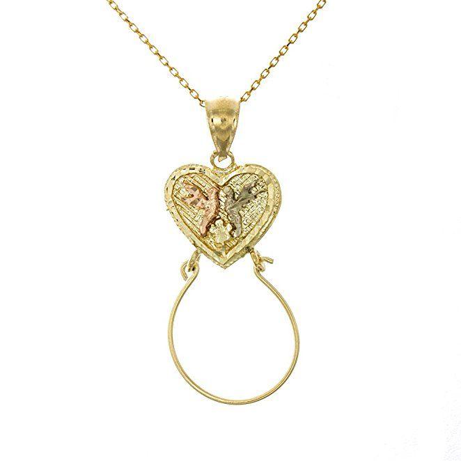 14k Yellow Gold Diamond-cut Doves w//Heart Pendant