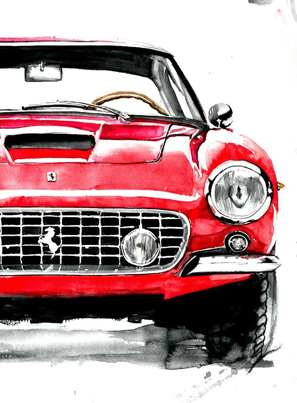 automotive watercolor paintings on Behance