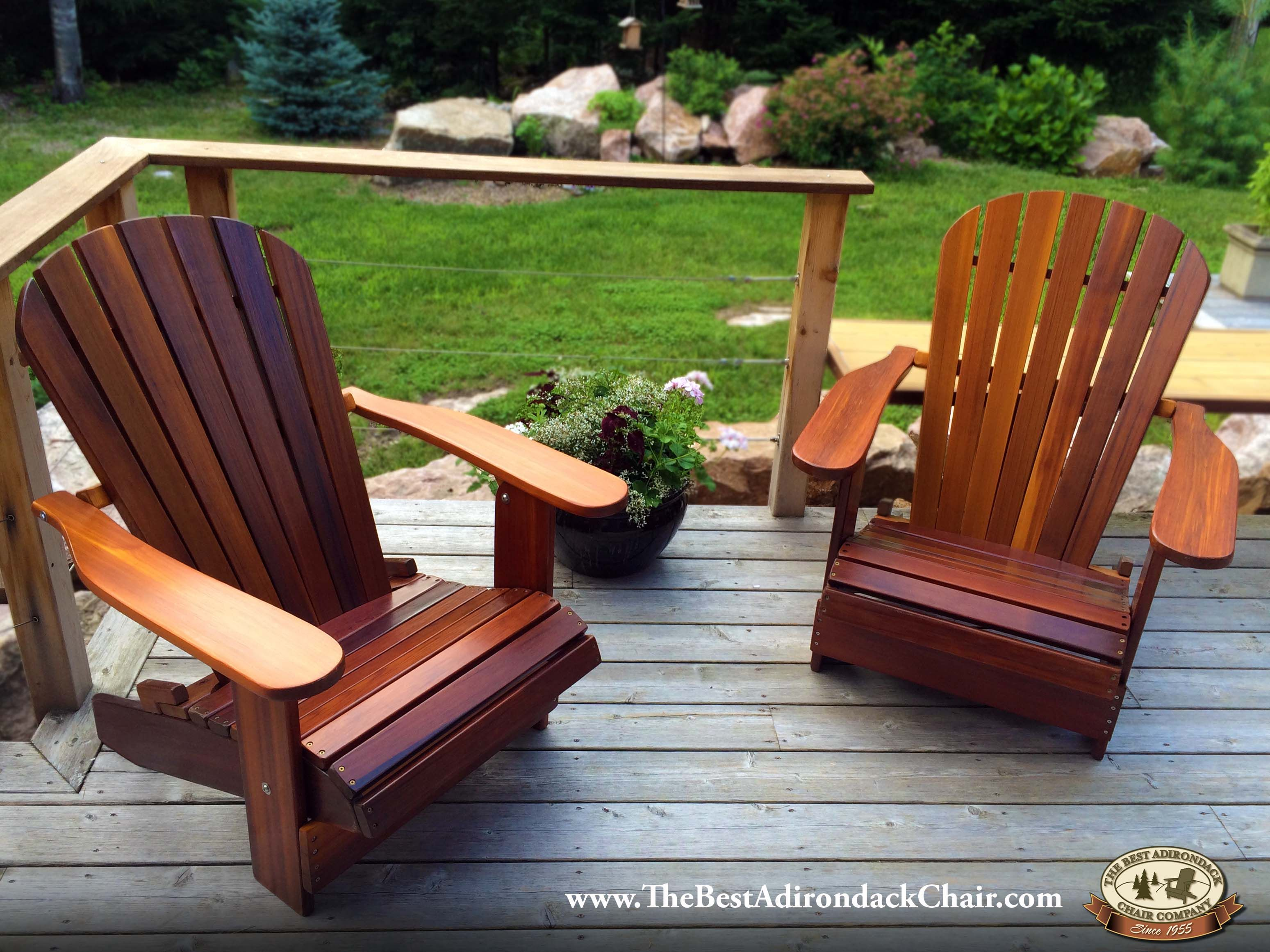 Pair Of Dark Western Red Cedar Adirondack Chairs Stained