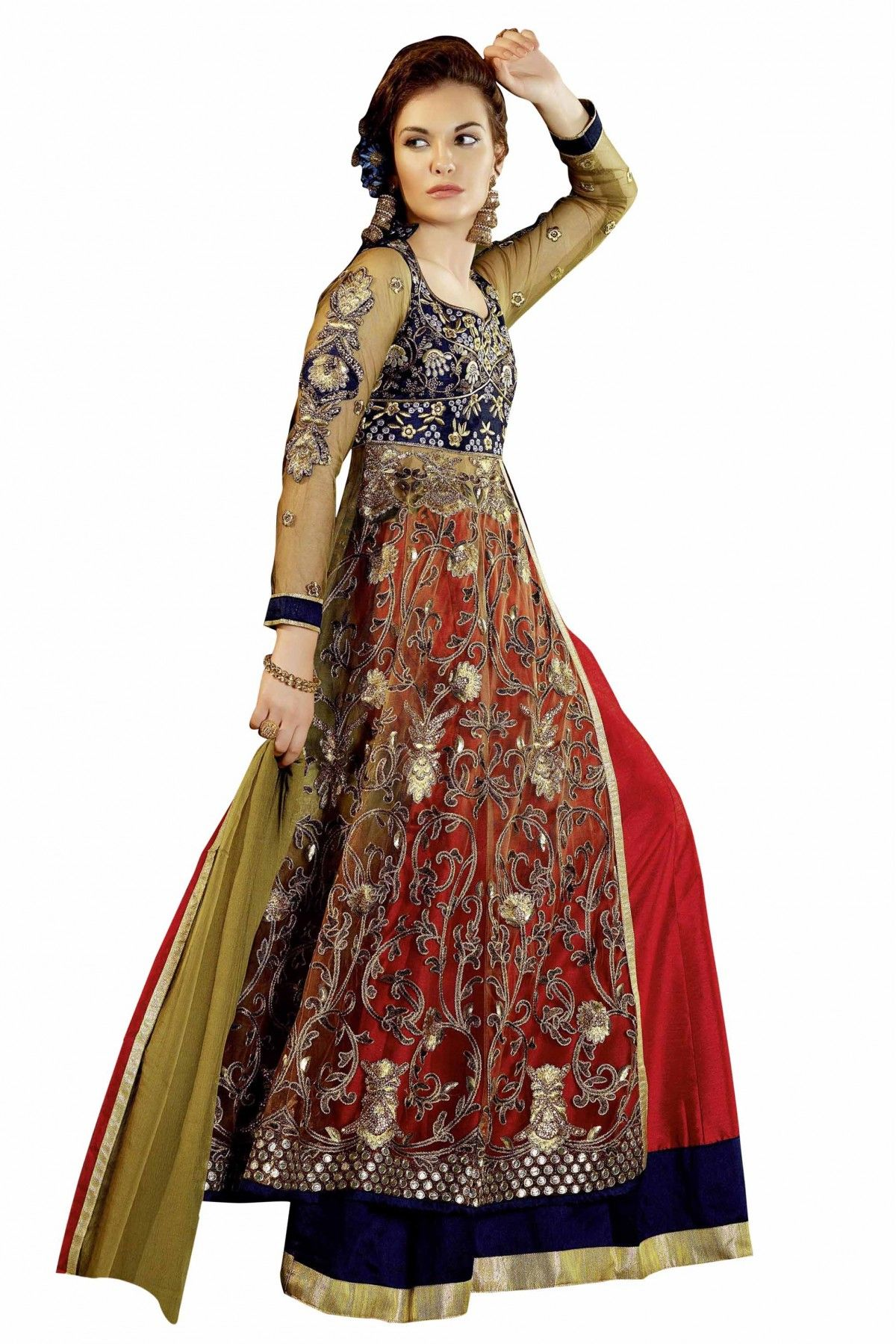 Poly Net Lehenga Suit In Red And Beige Colour A