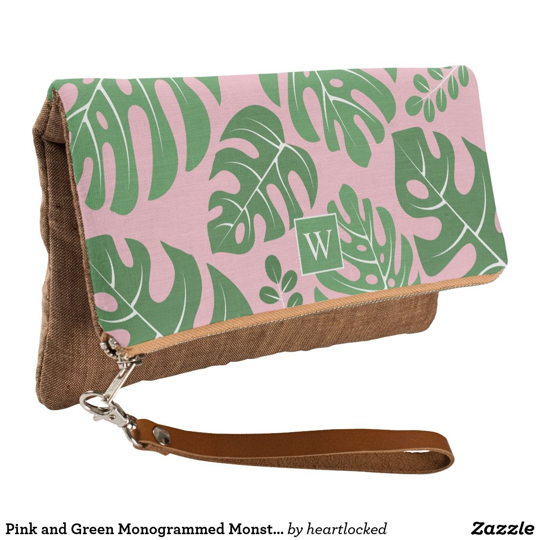 434eb574a26d8 Pink and Green Monogrammed Monstera Leaves Clutch in 2018