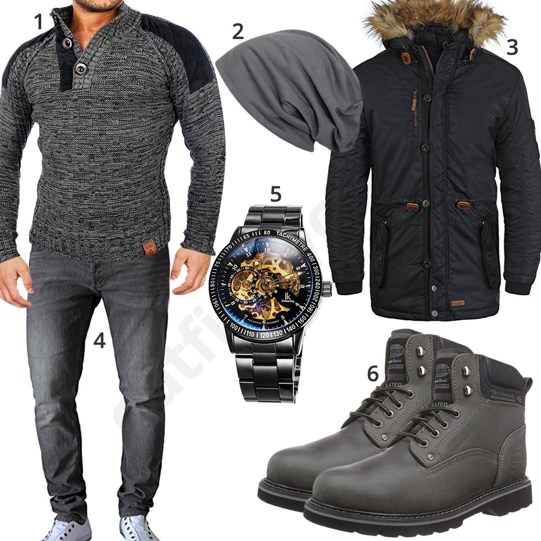Grau Schwarzes Herren Outfit mit Dockers (m0626   Herren