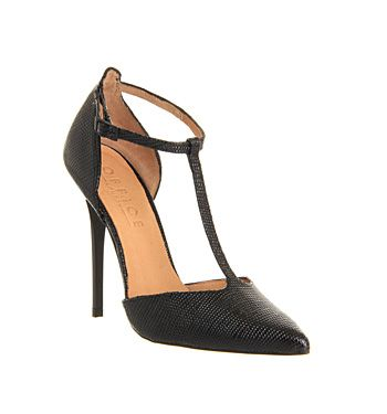 Office Selina T Bar Point Black Lizard Leather High Heels