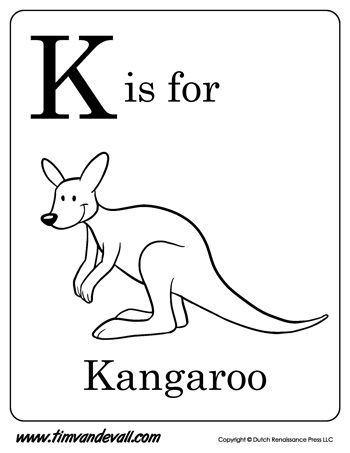 k is for kangaroo letter k coloring page