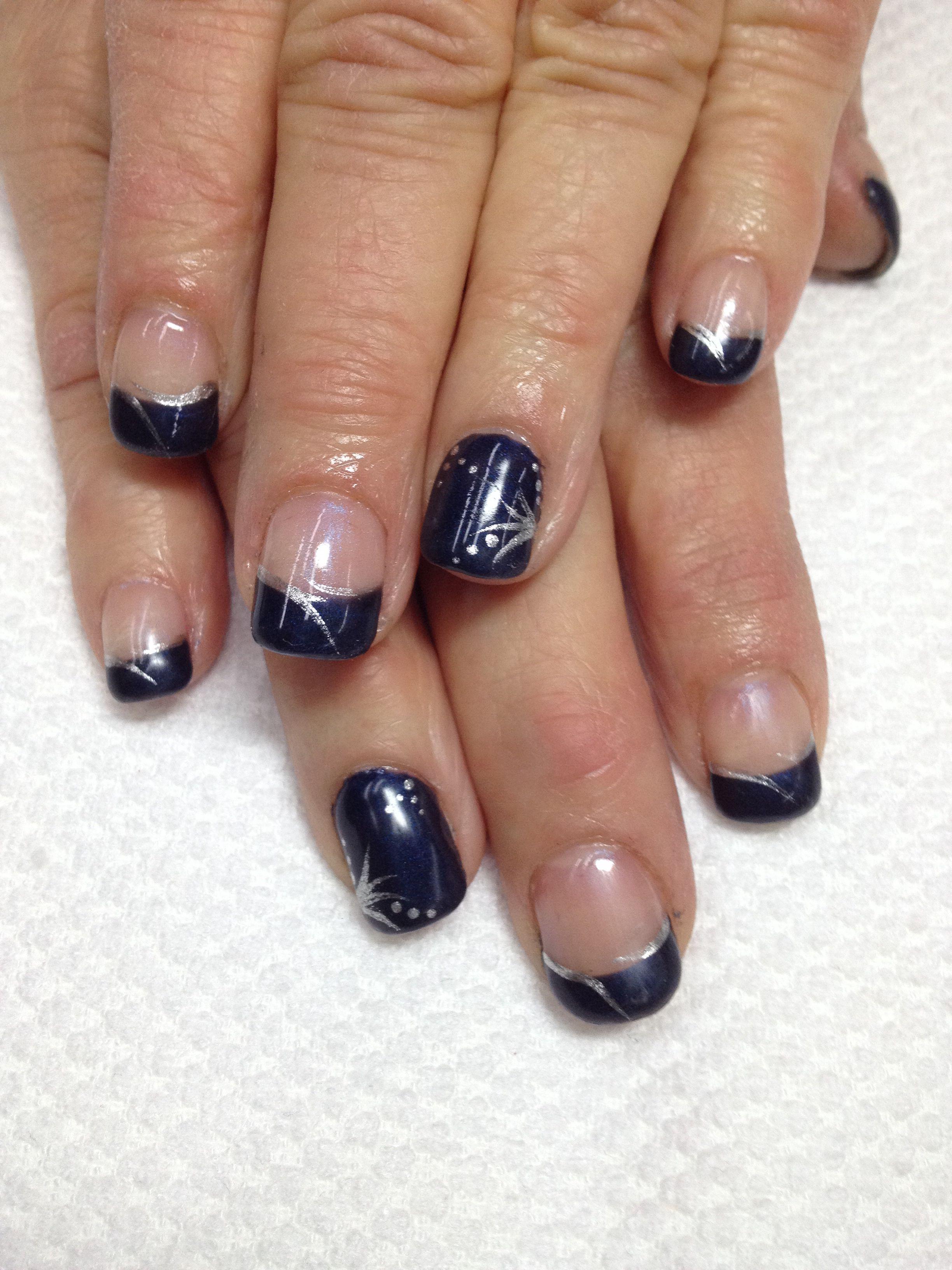 So elegant & classy! Navy French gel nails!! I added pigment powder ...