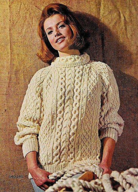Ladies Vintage Fisherman knit cardigan