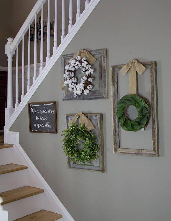 Farmhouse wreath, Gallery Wall Decor, Rustic Decor, Fixer Upper Decor, Wreath in frame, Cottage wreath, Eucalyptus Wreath, Cotton Wreath images