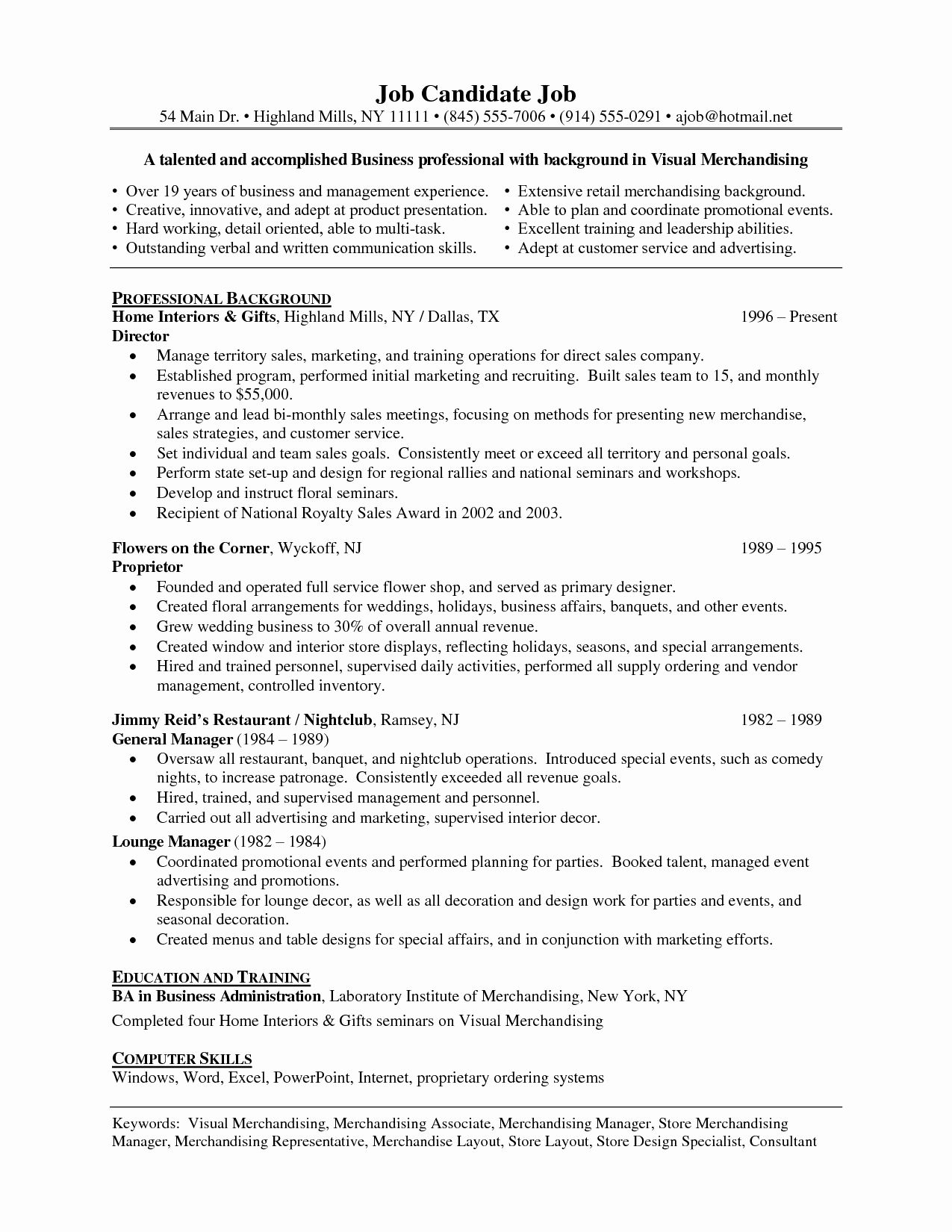 Visual Merchandiser Job Description Resume Elegant Life