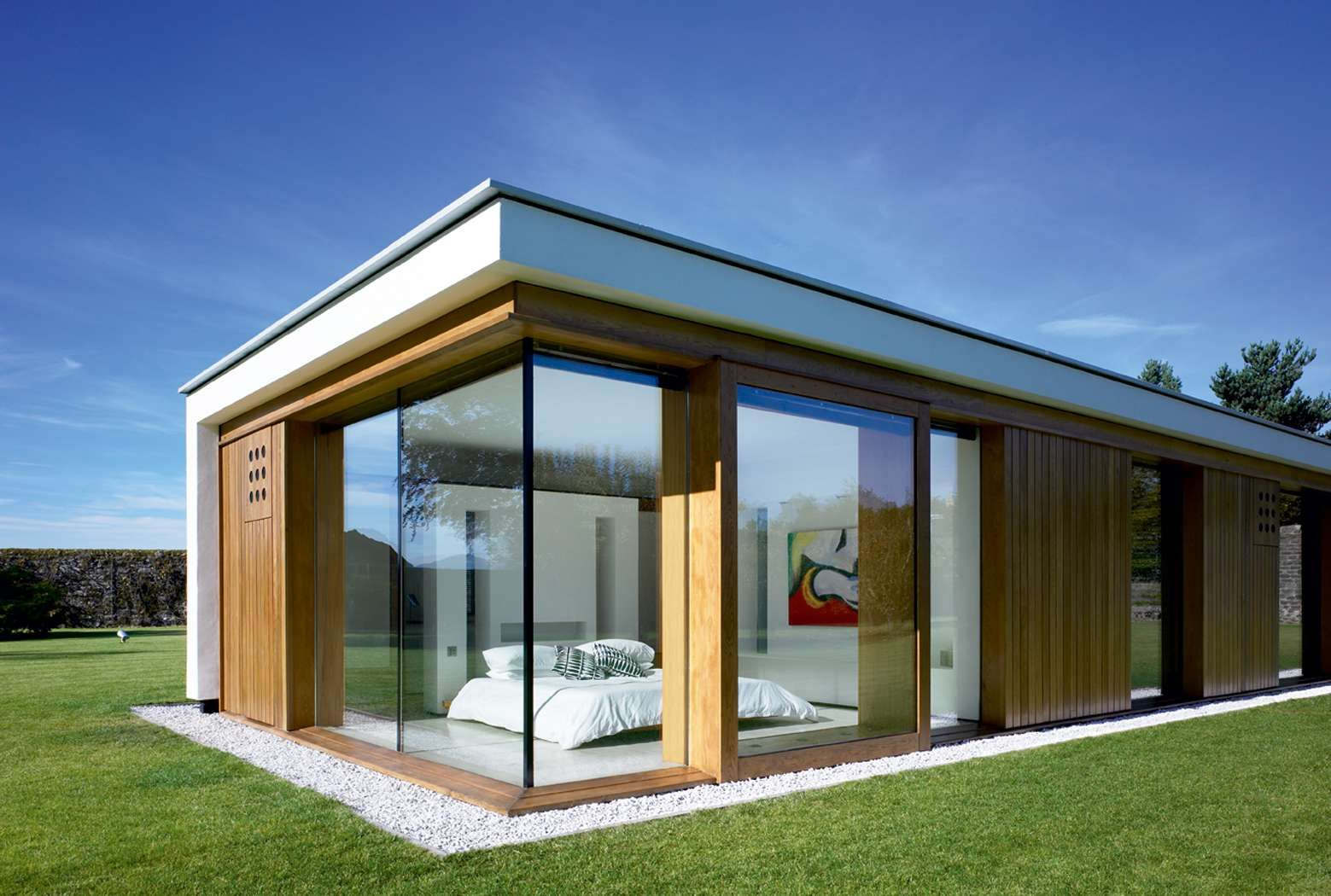 image result for contemporary flat roof house wood cladding white render