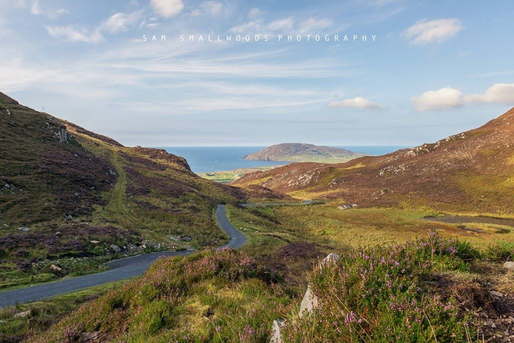 Mamore Gap with road leading down to Leenan in north west