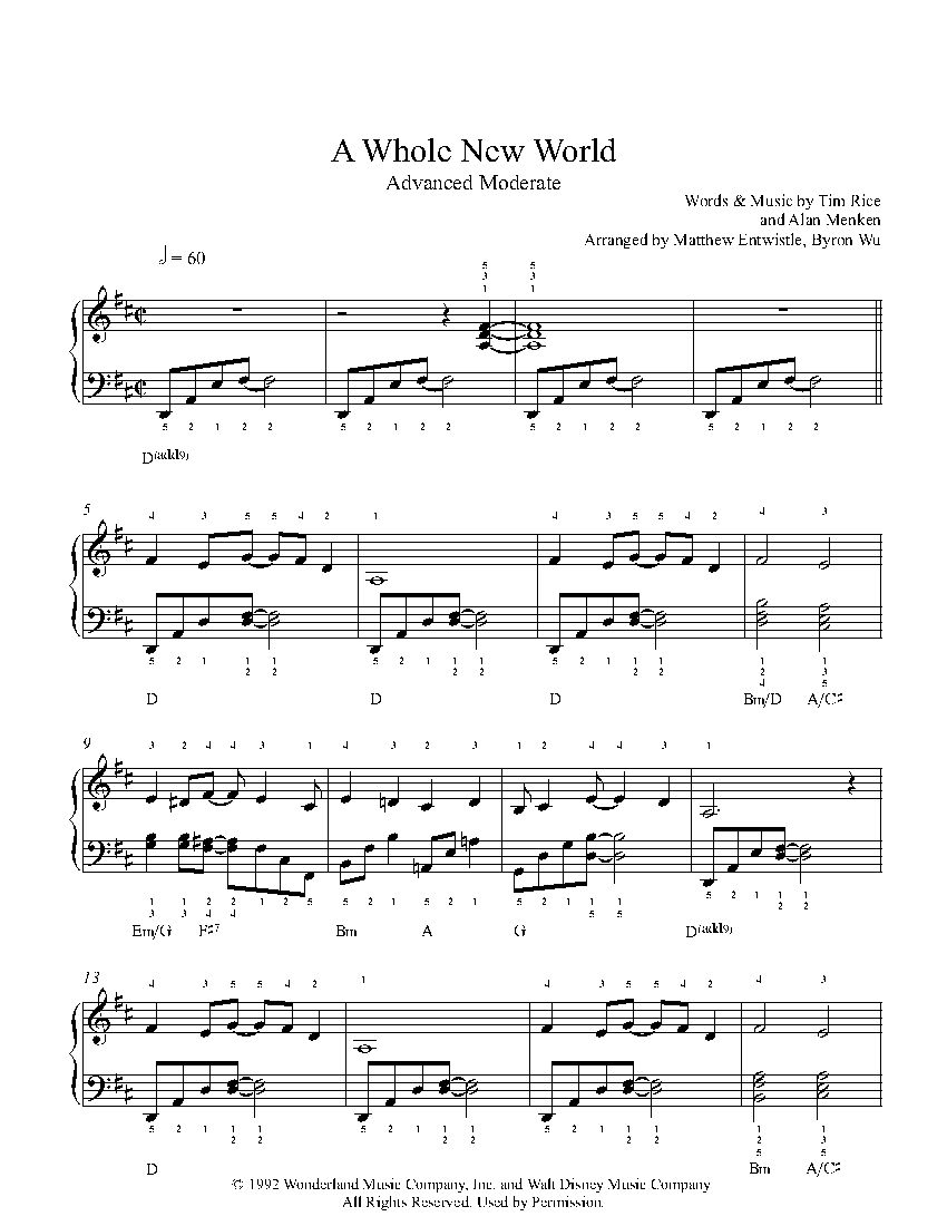 A whole new world by alan menken piano sheet music advanced a whole new world by alan menken piano sheet music advanced level hexwebz Image collections