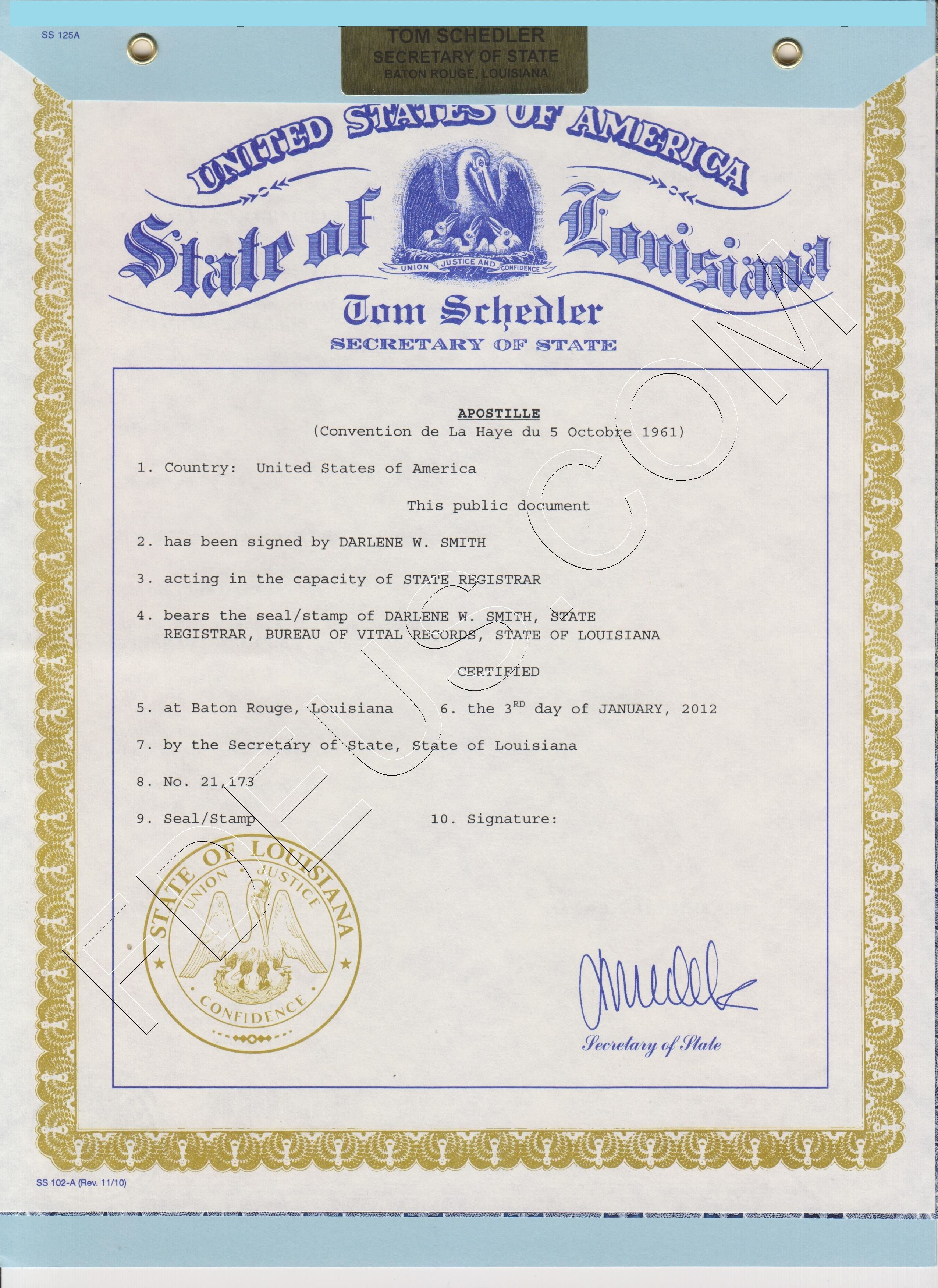 Louisiana apostille we provide fast and reliable apostille we can also obtain many kinds of documents from louisiana state agencies including certified copies of vital records 1betcityfo Images