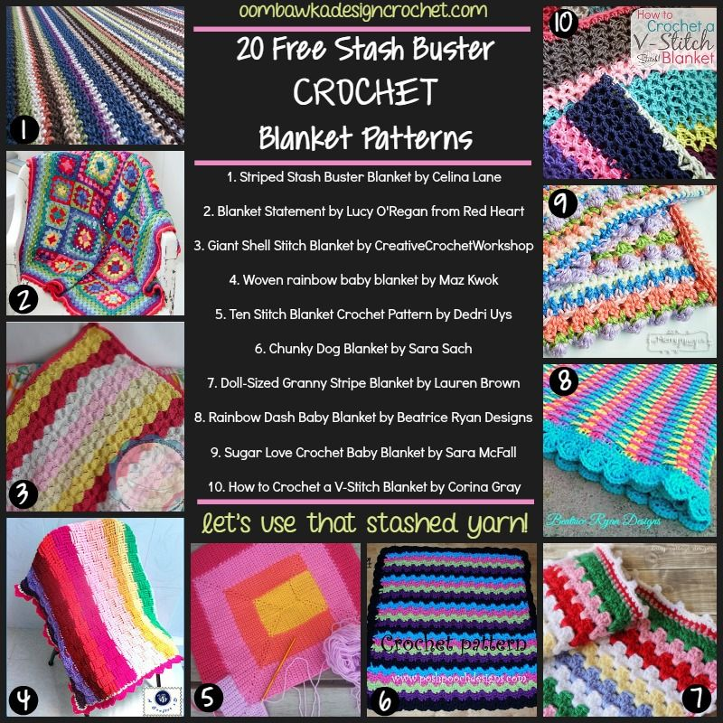 20 Free Stash Buster Blanket Patterns | Ganchillo y Patrones