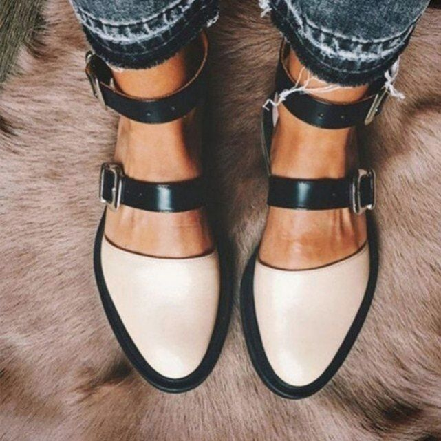 Women buckle flat leather shoes ankle strap ladies mixed color casual comfort round toe footwear autumn color red shoe size 7. 5