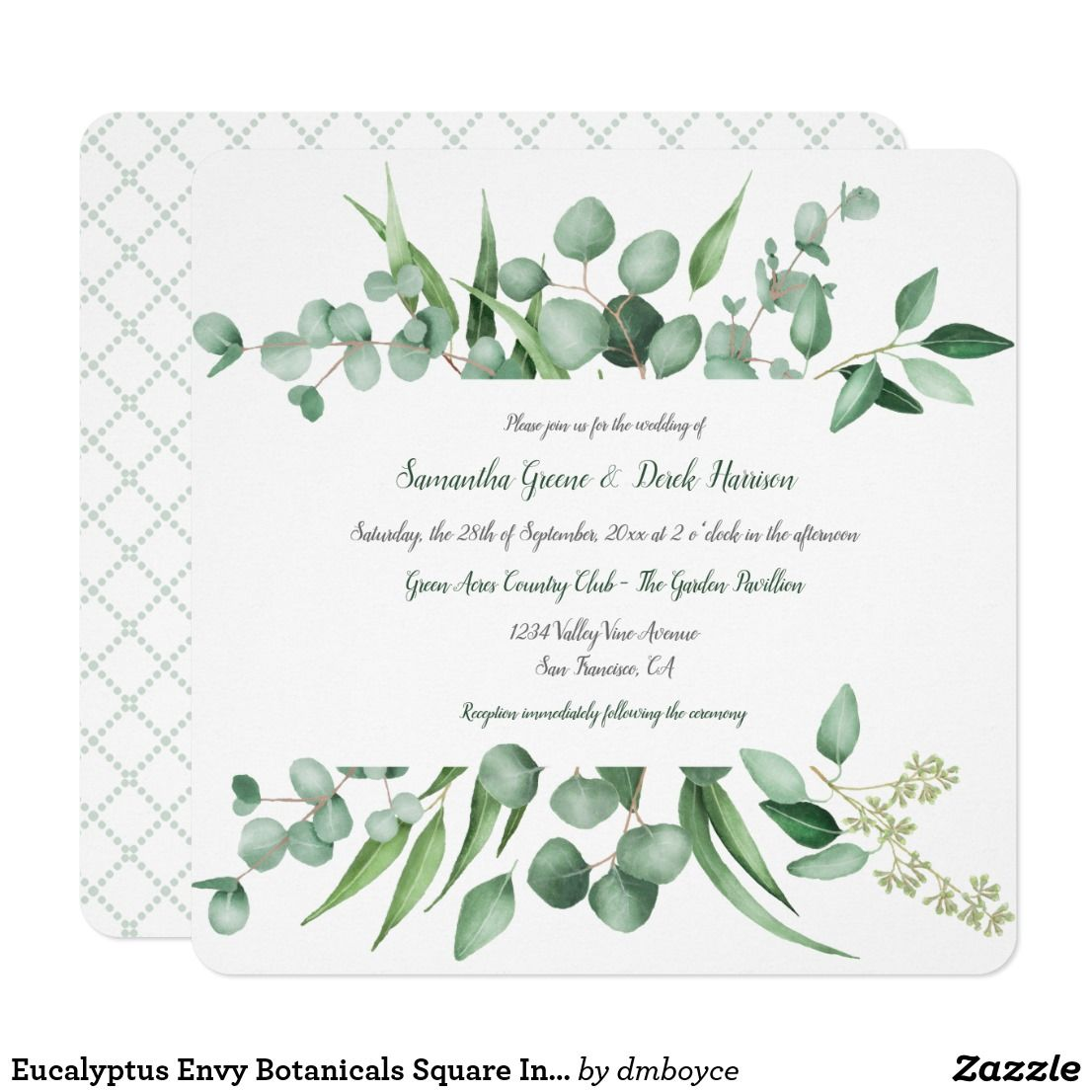 Eucalyptus Envy Botanicals Square Invitations Watercolor Wedding