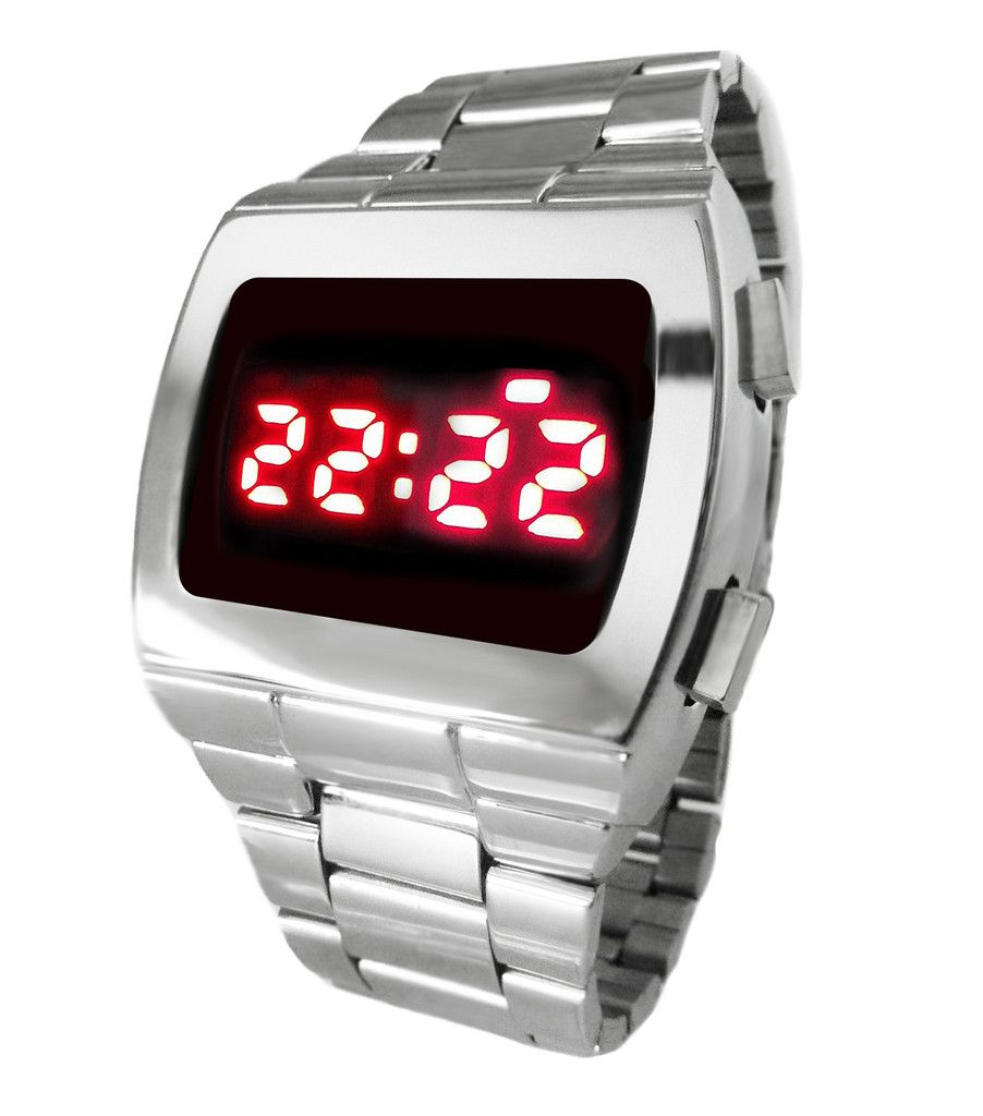 d3bd9f2d5ed3 TX LED Watch Multifunction Red Digital 70s Retro Chrome   SS Watch Powerful  6 Volt Display can be used in daylight!