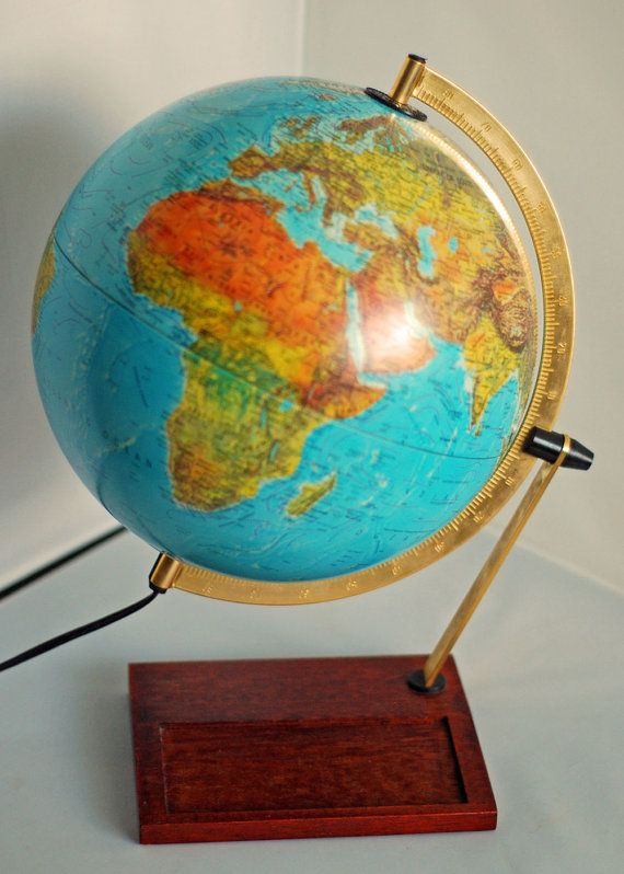 Vintage 1980 s Aqua Blue World Globe Map by junkindatrunkgirls