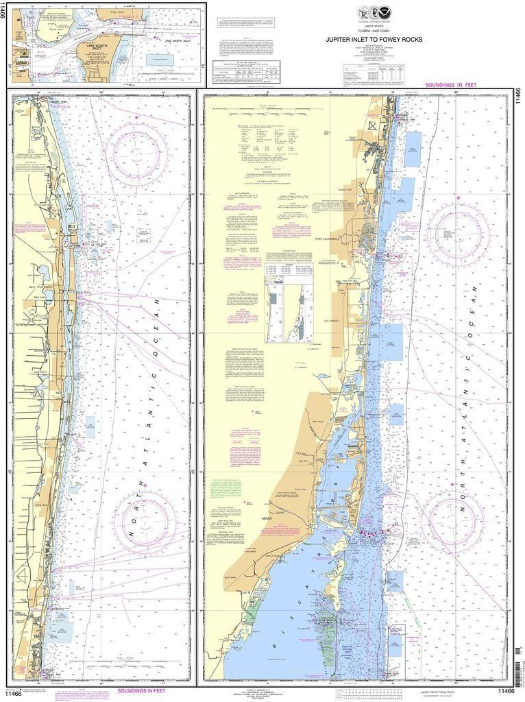 NOAA Nautical Chart Jupiter Inlet to Fowey Rocks Lake Worth