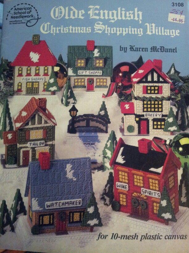 christmas village plastic canvas