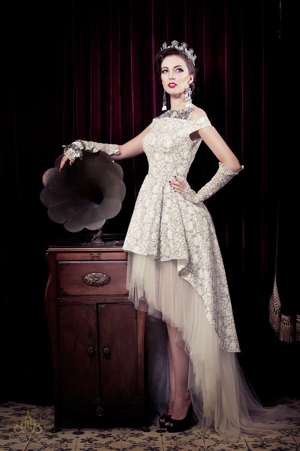 Classic mullet wedding dress in black and white floral lace . See ...