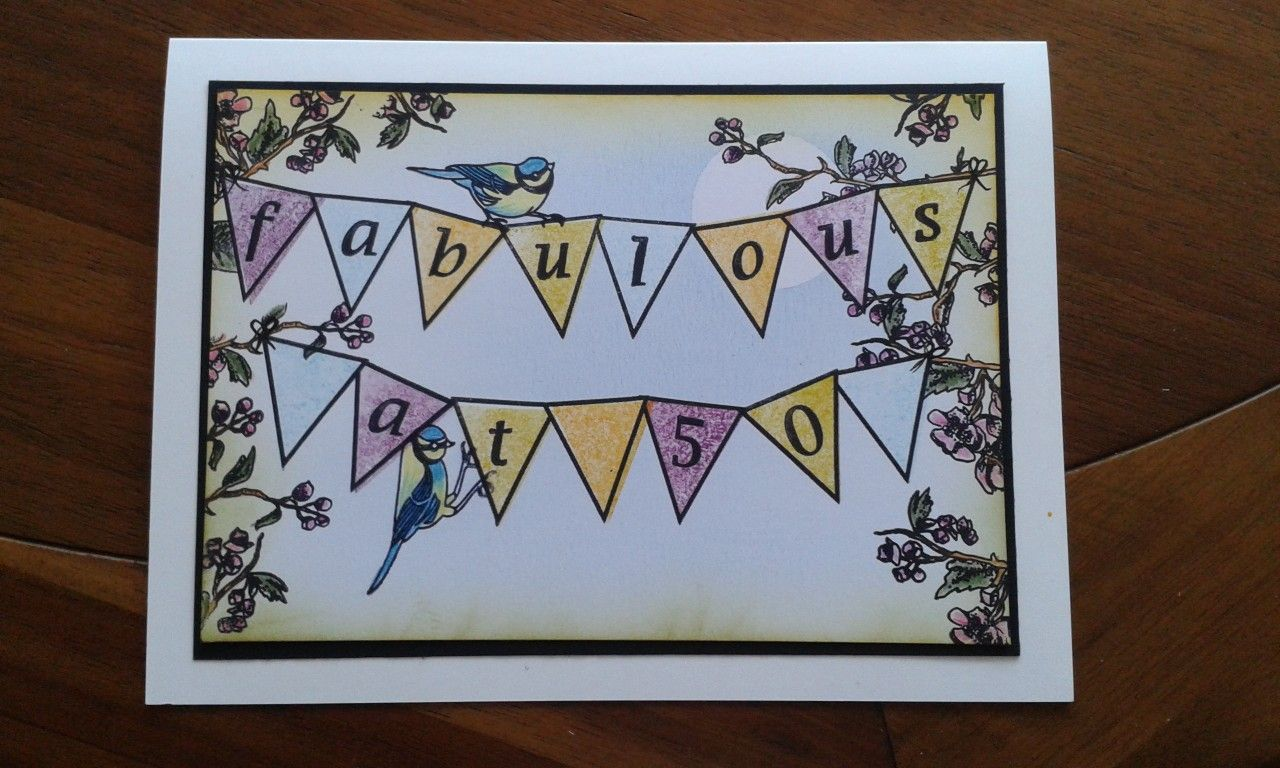 50th Birthday Card Using Claritystamp Banners Letterbox Stamps By