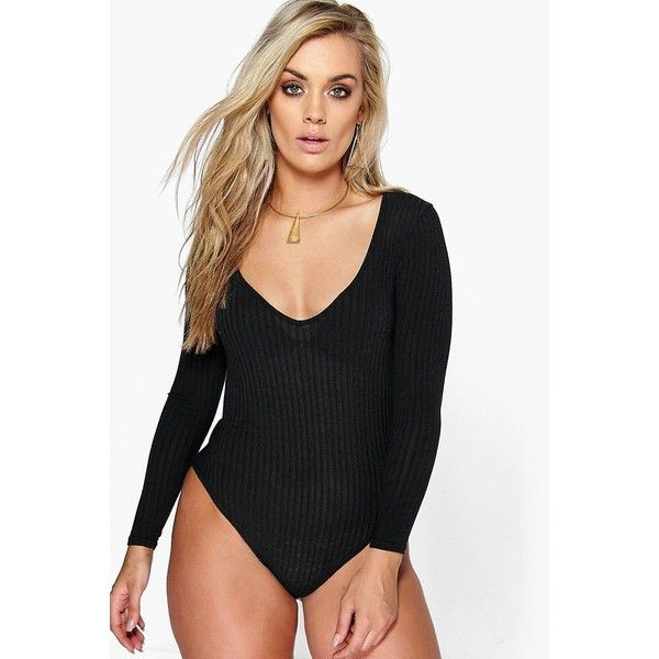 a55ce7dfd1 Boohoo Plus Plus Matilda Ribbed Plunge Neck Bodysuit ( 26) ❤ liked on  Polyvore featuring tops