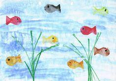 Fische Drucken Basteln Im Sommer 儿童画 Fische