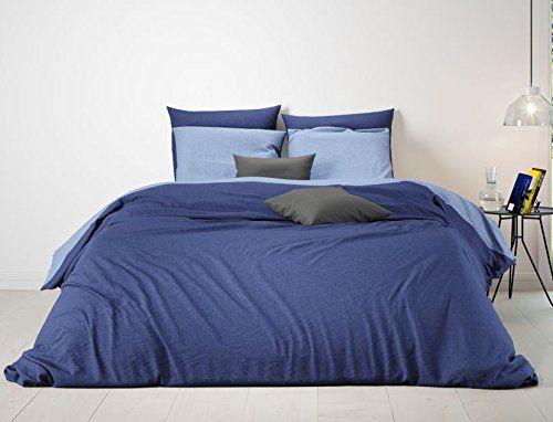 Aminata Bettwäsche 135x200 Cm Blau Dunkelblau Hellblau Uni