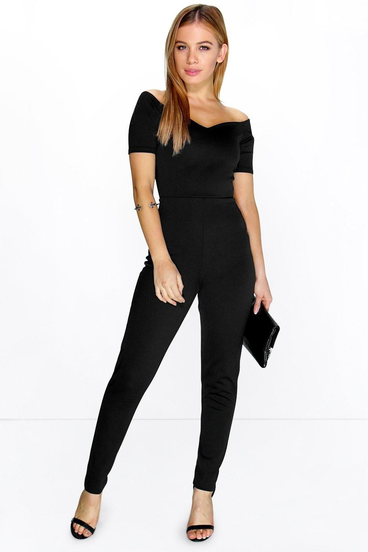 Petite Amber Bardot Sweetheart Neck Jumpsuit | Overalls, Boohoo ...