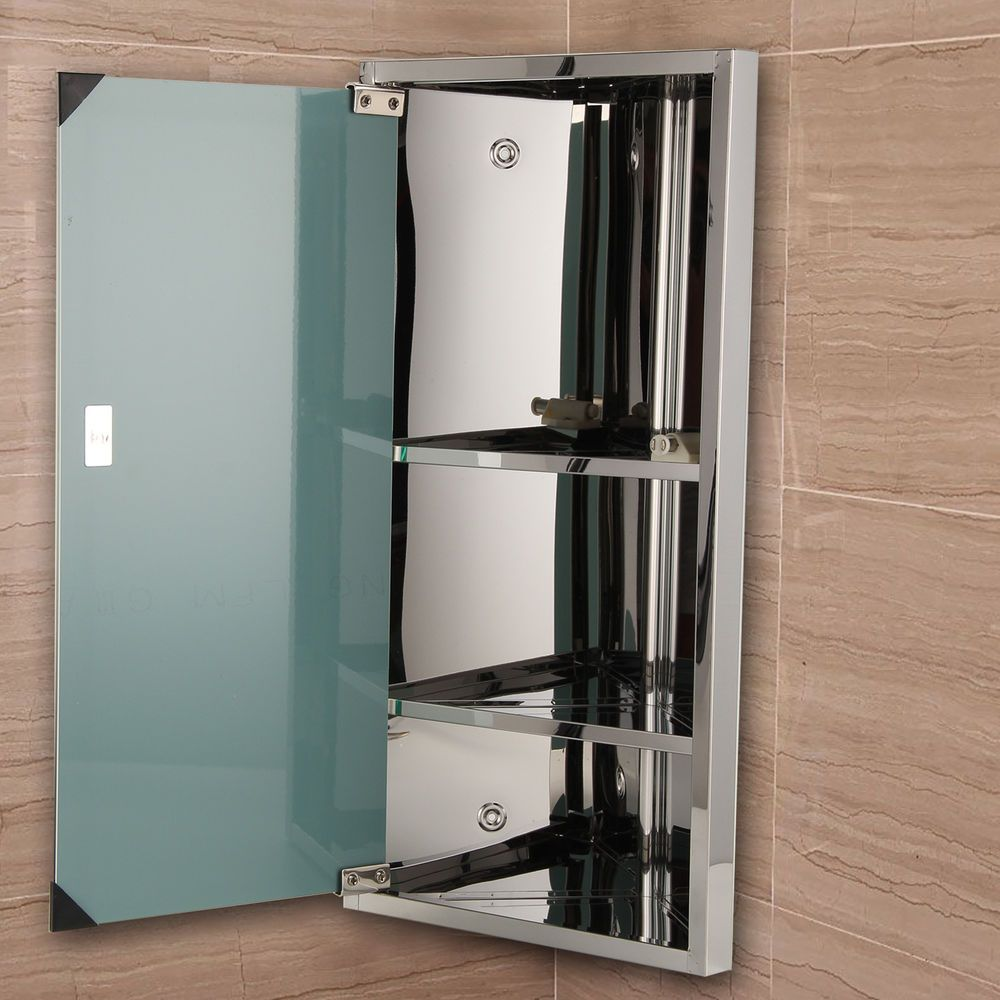 Bathroom Corner Cabinet Stainless Steel Mirror B1cr 600 300mm Uk Stock Corner Bathroom Mirror Mirror Cabinets Bathroom Corner Cabinet