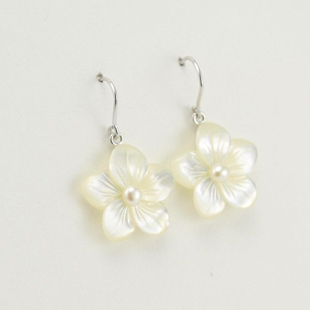 4027 Sterling Silver Mother Of Pearl Flower 20mm With Dangle Earrings Earings Pinterest Dangles And Jewelry