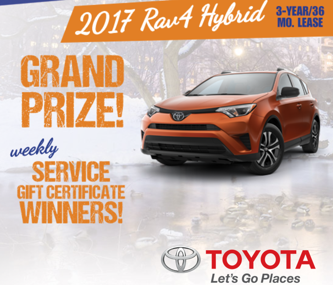 Win a three year lease on Toyota RAV4 vehicle White Hot Winter